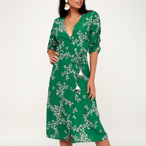 Faithfull the Brand Dresses & Skirts - Faithfull the Brand Green Wrap Floral Dress